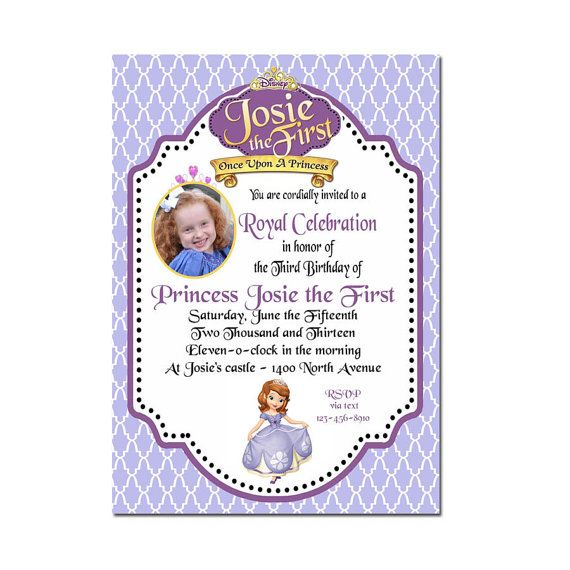 Sofia The First Party Invitation Sofia The First By Peachymommy