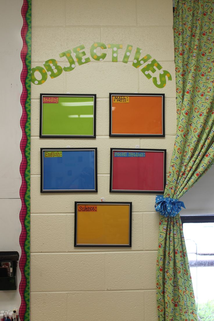 My objectives boards for my classroom.  Dollar Tree frames and scrapbook paper.  Write objectives with Expo markers.