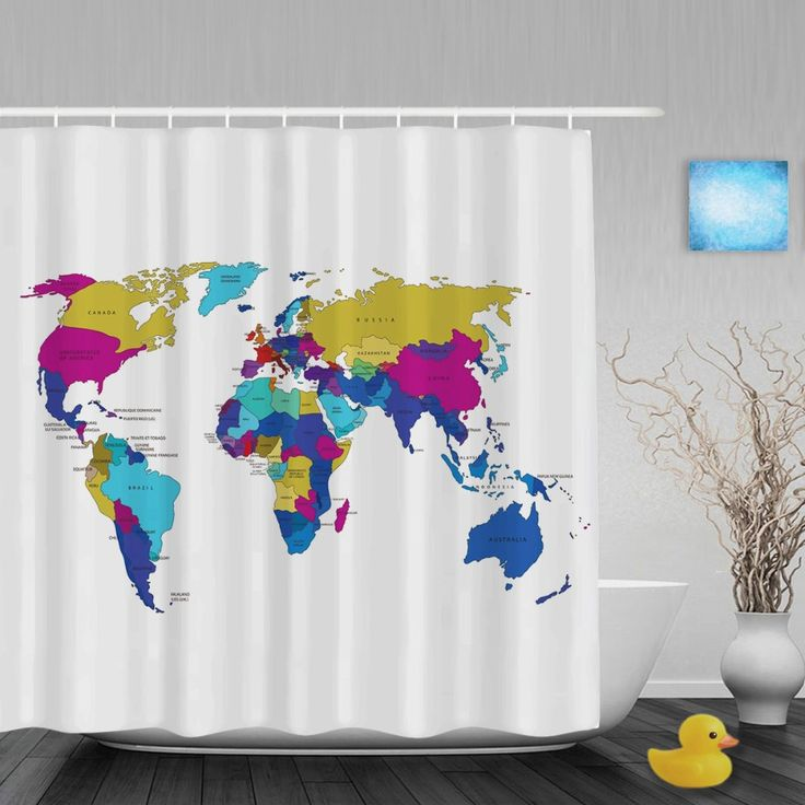 Beautiful Word Map Home Decor Shower Cutains Traveler Collection Bathroom Shower Curtains Polyester Waterproof Fabric With Hooks