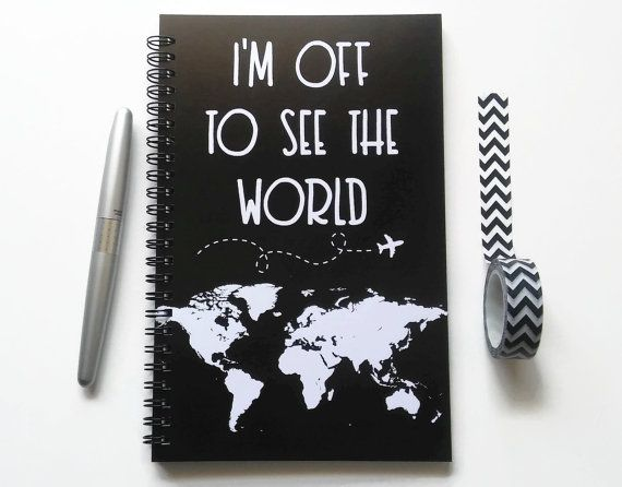 Schreiben Tagebuch, Spiralblock, Skizzenbuch, Kugel Journal, schwarz, gefüttert Gitter, Weltkarte, Reisetagebuch - ich bin dann mal um die Welt zu sehen