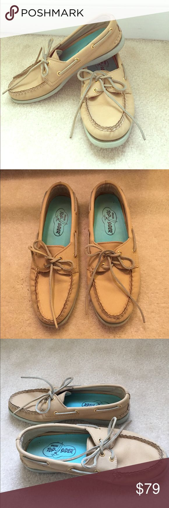 Sperry Top-Sider Authentic Original Boat Shoes Sperry Top-Sider Authentic Original women's Boat Shoes (color: Sand & light blue) Sperry Top-Sider Shoes Flats & Loafers