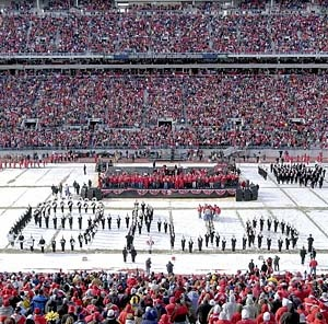 "Script Ohio in ""The Shoe"" after winning the 2002 National Championship against Miami in the Fiesta Bowl. Celebration, January, 2003."