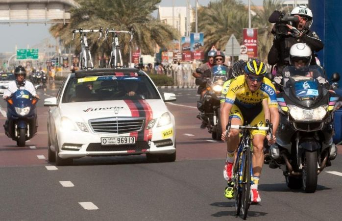 SC at the finish line of Dubai Tour 2014