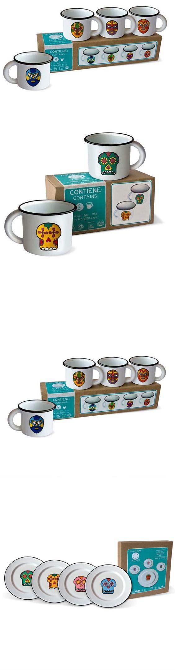 Malinalco Home /// Una colección que incluye tazas, tazones y platos decorados con calaveras, imágenes de la lotería y máscaras de lucha libre.