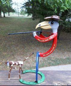Metal Sculpture Bird Hunter Bird Dog Horseshoe Yard Art Garden Art Indoor Outdoor. $84.99, via Etsy.