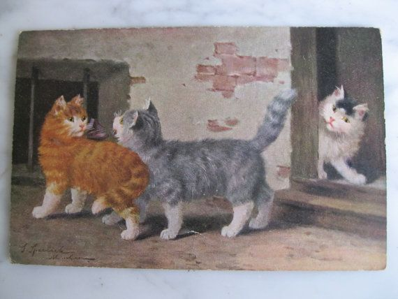 Antique Postcard. From my album Cats and Kittens. by grandma62