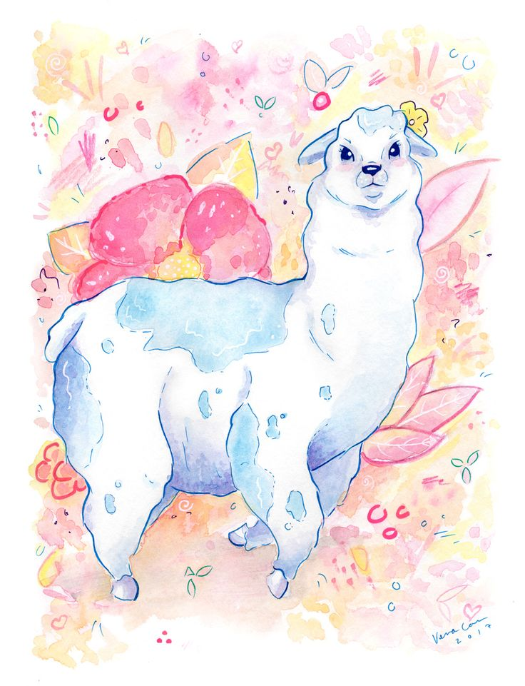 """The Happy Llama"" by Vena Carr, 2017. Created with ink and watercolour with mixed media embellishments."