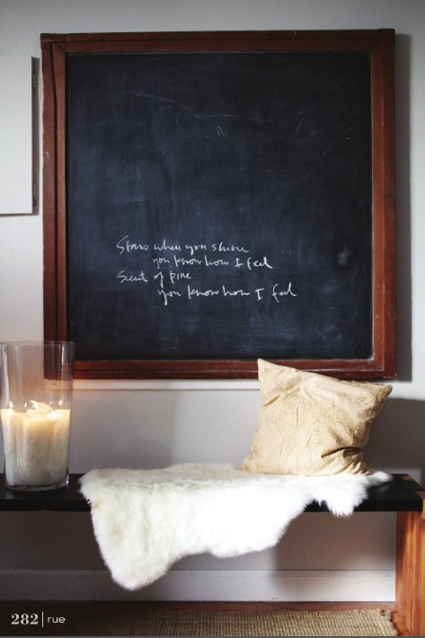Big chalkboard- my parents had one built in low on the kitchen wall so mom could keep an eye on me and my sibs while she was cooking. Was installed by my grandpa for his children.