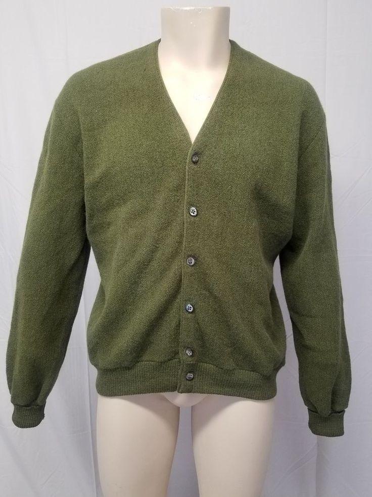 1950s Campus Shawl Neck Stripe Sweater Luxury Line By Campus Wool Vintage Olive Green Black White vqp6zVYCsM