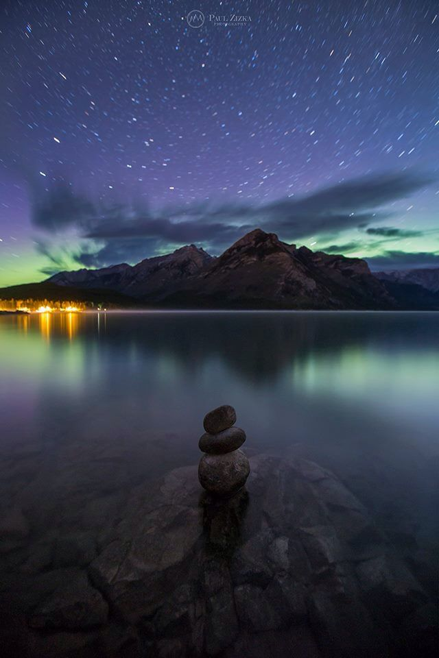 Northern Lights over Lake Minnewanka // Banff National Park, Canada, North America [ Photo by Paul Ziska Photography ]