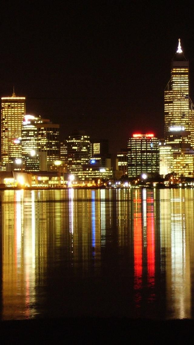 Perth skyline, city, night, Landscapes