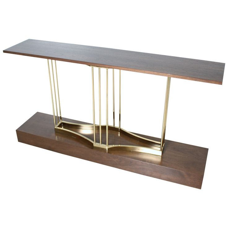 Custom Brass and Walnut Sofa Table Console