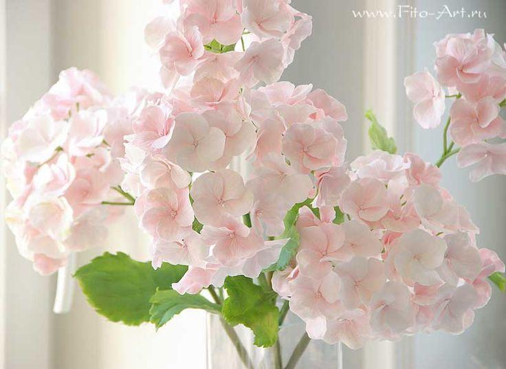 Лучшие работы : Розовая гортензия. Керамическая флористика - Fito Art