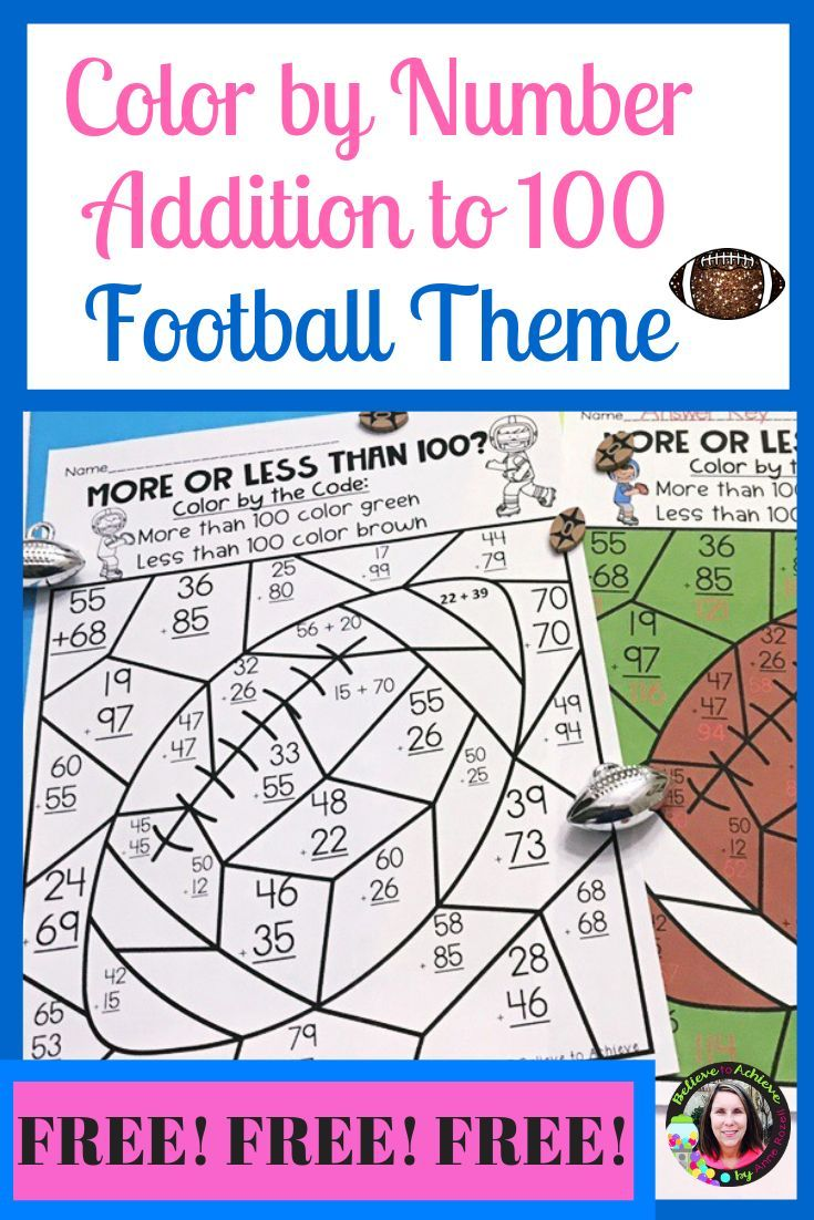 Color By Number Addition To 100 Free The Super Bowl Is Just Around The Corner So I Created This Free Math Practic Free Math Practice Free Math Teaching Math [ 1102 x 735 Pixel ]