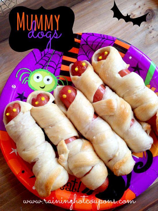 """Mummy Dogs! I made these every year since our kids were small. Last Halloween I didn't make them and our 22 year old came home and asked, """"Where are the Mummy Dogs?"""""""