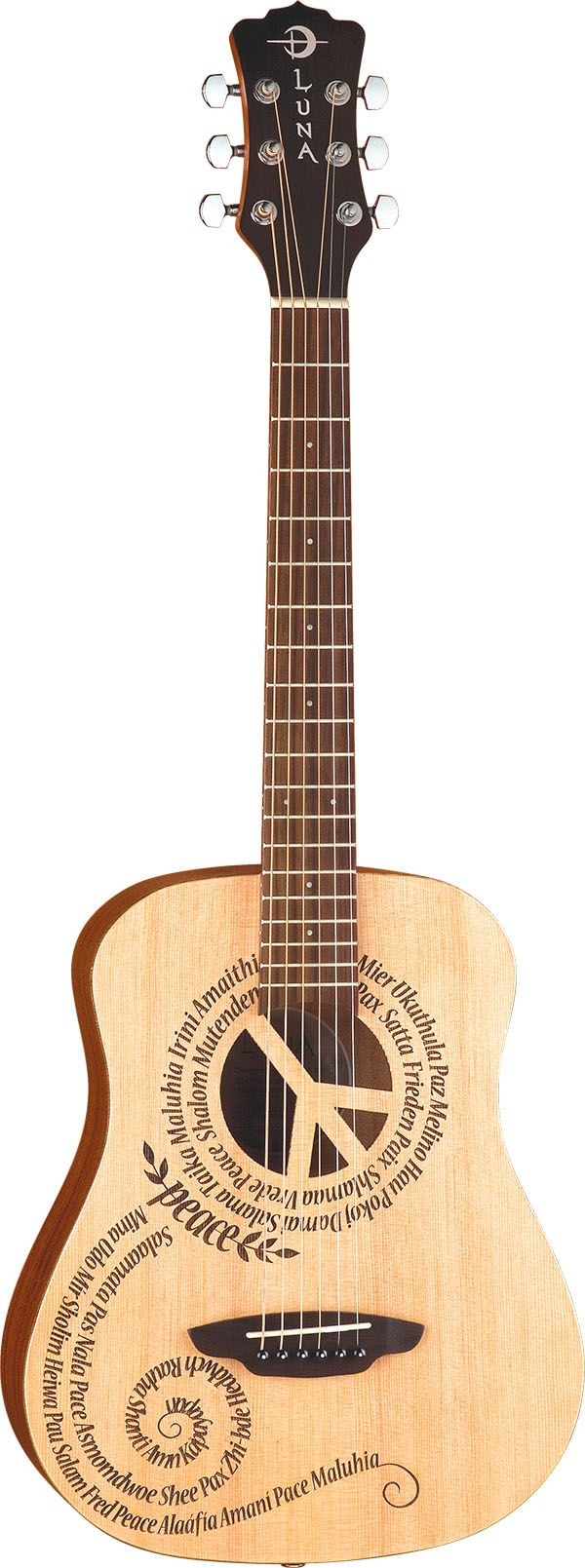 Luna Guitars - Safari Peace. ~This is the Luna I have. Very sweet sound, and comfortable to play.~