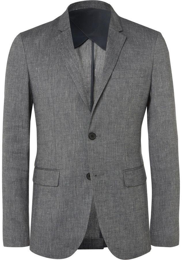 Solid Homme Grey Linen-Blend Hopsack Suit Jacket