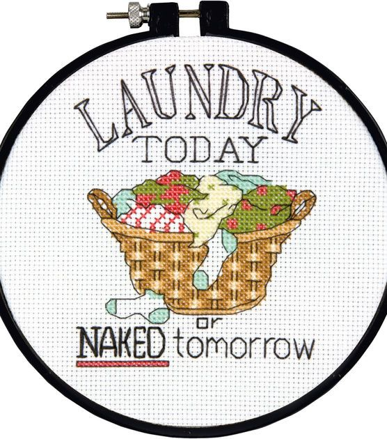 """Learn-A-Craft Laundry Today Counted Cross Stitch Kit-6"""" Round 14 Count at Joann.com"""