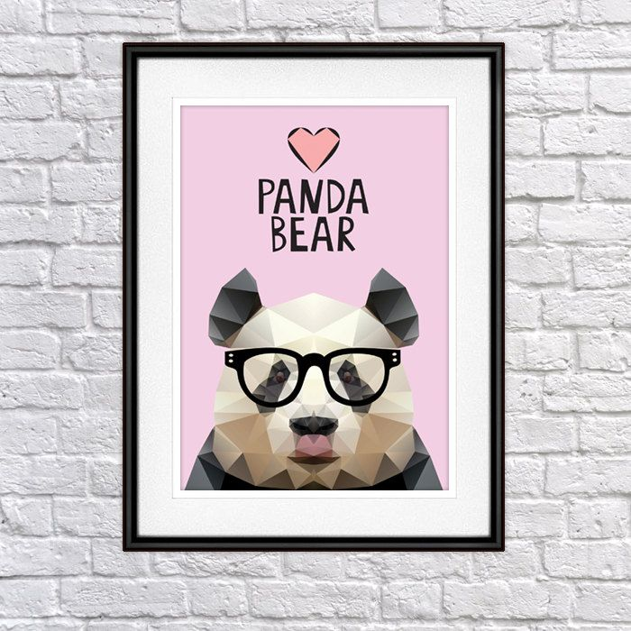 Panda with glasses Digital Poster Print, Wall Decor by PSIAKREW on Etsy