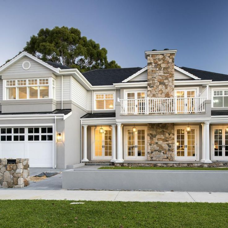 Exterior Home Decor: Grey And White Exterior Colour Scheme With Stone Accents