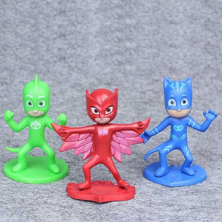 3pcs 9.5cm PJ Masks Toy Set Mini Figure Plastic Vinyl Doll for Boys Girls toy Catboy Owlet Gekko Cape Gift Pj Masks Party