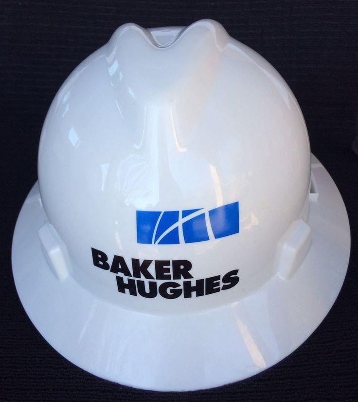 MSA V-Gard Full Brim BAKER HUGHES Hard Hat Fas-Trac Suspension White Medium 32 #BAKERHUGHES