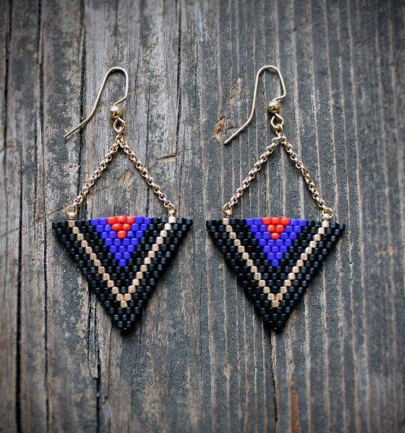 Triangle Beaded Drop Earrings