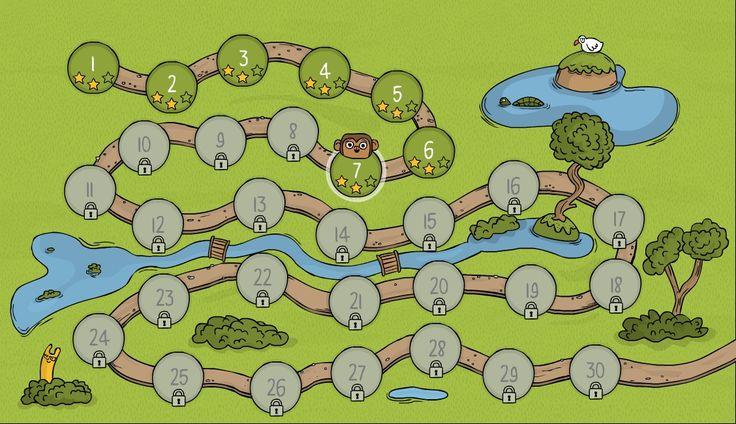 CodeMonkey een online website om te leren programmeren. Je moet echte code inkloppen. Een aap moet bananen pakken.