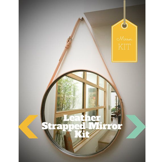 NOBI - CREAM Leather Strapped Mirror Adnet Jamie Young Style Captain's Mirror Hanging BDDW Gobi Kit