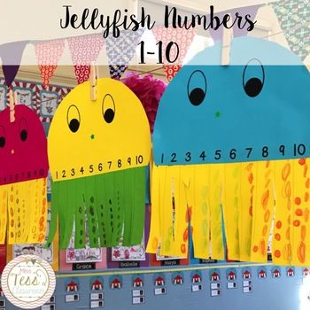 A simple, fun and engaging craft activity to consolidate learning in early years mathematics. Students add dots, shapes, stickers, stamps to match the number on the strip. Students can then match the numbers to the body of the jellyfish!