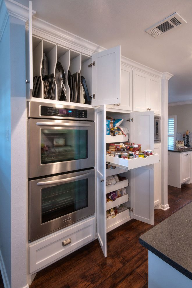 Beautiful folding step stool in Kitchen Contemporary with Slide Out Pantry next to Cookie Sheet Storage alongside Pantry Ideas and Double Ovens