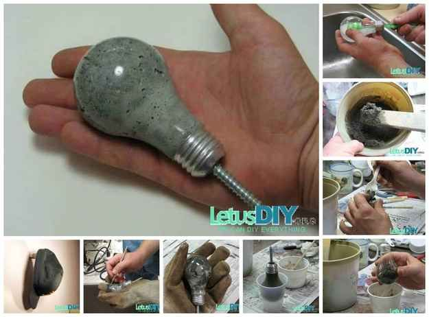 Lightbulb Shaped Wall Hook   22 Seriously Cool Cement Projects You Can Make At Home