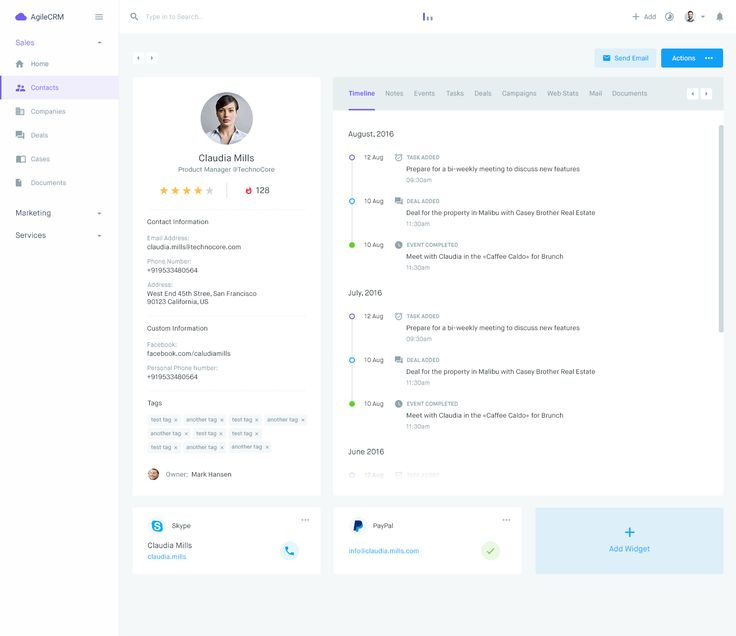 Agile CRM - Contact Profile - Timelines