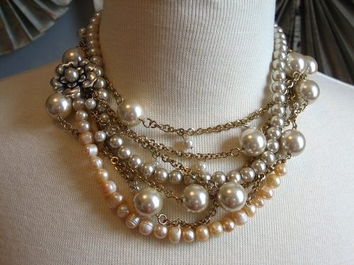 DIY tiered layered bead and pearl necklace