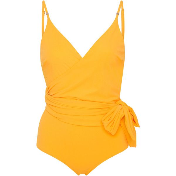 Stella McCartney Timeless Wrap One-Piece Suit ($255) ❤ liked on Polyvore featuring swimwear, one-piece swimsuits, yellow and stella mccartney