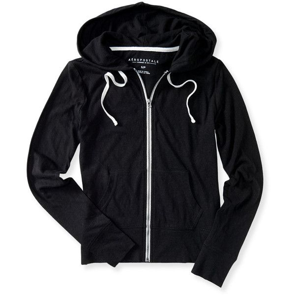Aeropostale Lightweight Core Full-Zip Hoodie (27 CAD) ❤ liked on Polyvore featuring activewear, activewear tops, black, yoga activewear and aéropostale