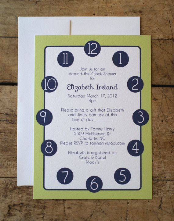 Bridal Shower Invitation Around The Clock By LimeAndRuby On Etsy