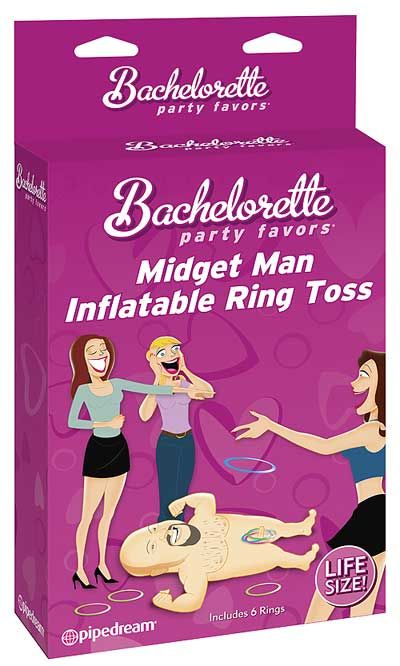 Midget Man Inflatable Ring Toss Game, what more can be said!!  It it a two-fold bachelorette party supply, it has an inflatable midget man doll, and comes with rings that you can then toss at him to 'ring his pecker!!'  Its fun, but even more once a few drinks are down... makes a great bachelorette party blow up doll to take on the town with you!!