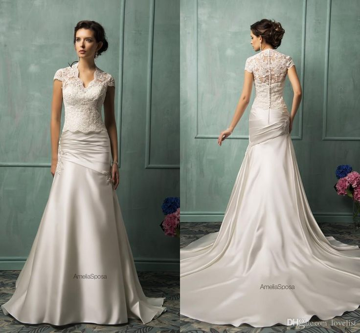 2017 Amelia Sposa Elegant Mermaid Wedding Dresses White Liqued Personalized Bridal Satin Party