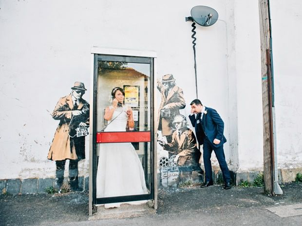 Real wedding: A chic navy and cream celebration – with Banksy. Image © Blooming Photography. #realwedding