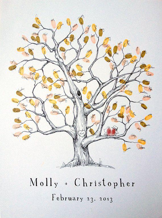Medium Elm Design, The original hand-drawn wedding guest book fingerprint tree (ink pads sold separately) via Etsy