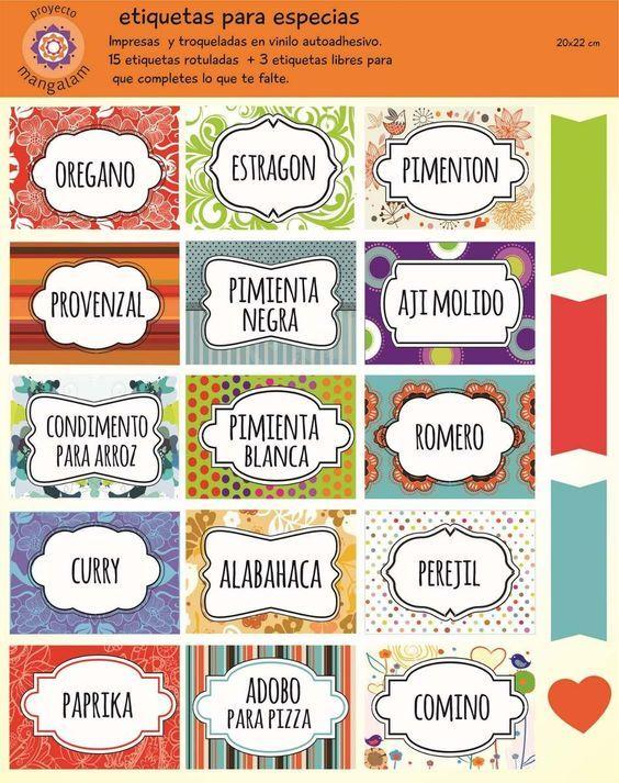 etiquetas para condimentos de cocina - Buscar con Google:
