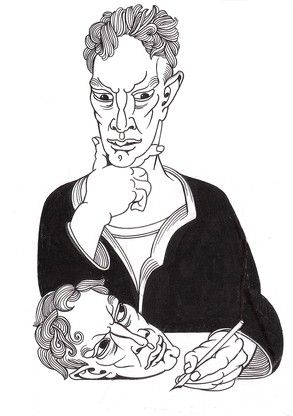 Alasdair Gray Author of Lanark in Medias Res 1970 Indian Ink on Paper 32 x 23 cm http://www.sorchadallas.com/works/3690/images
