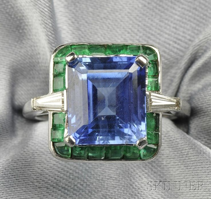 How's this for colorblocking? Sapphire, Emerald, and Diamond ring. by ava