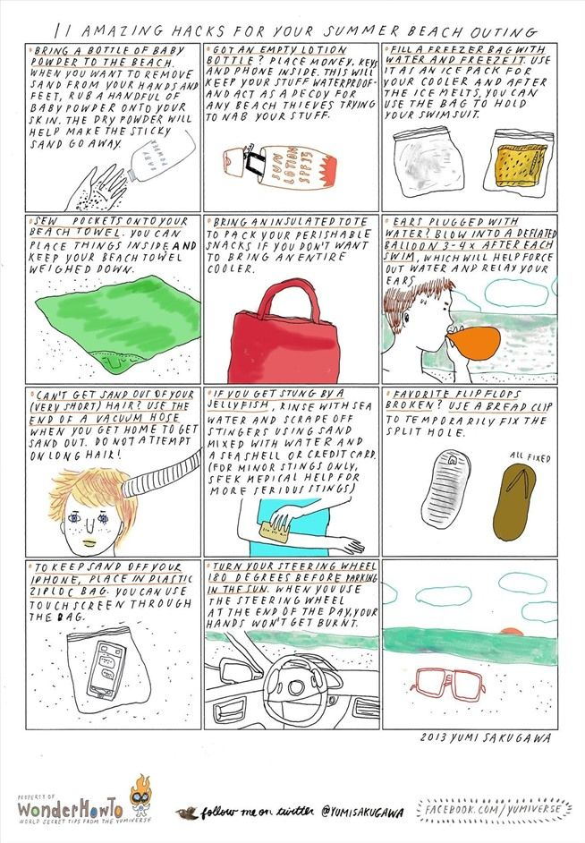 11 Amazing Hacks You Should Know for Your Next Summer Beach Trip - love the towel pocket and empty lotion bottle idea!!