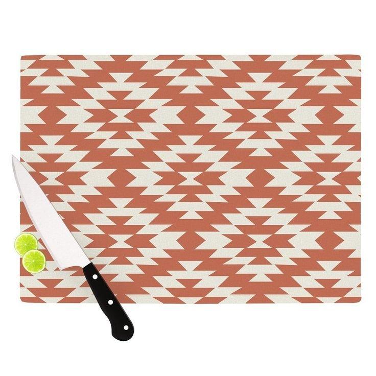 "Kess InHouse Amanda Lane ""Southwestern Toasted Coral"" Red Tribal Cutting Board (Large 11.5"" x 15.75""), Multi (Glass)"