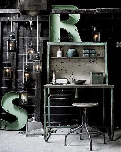 Pastel industrieel interieur mint groen industrial interior