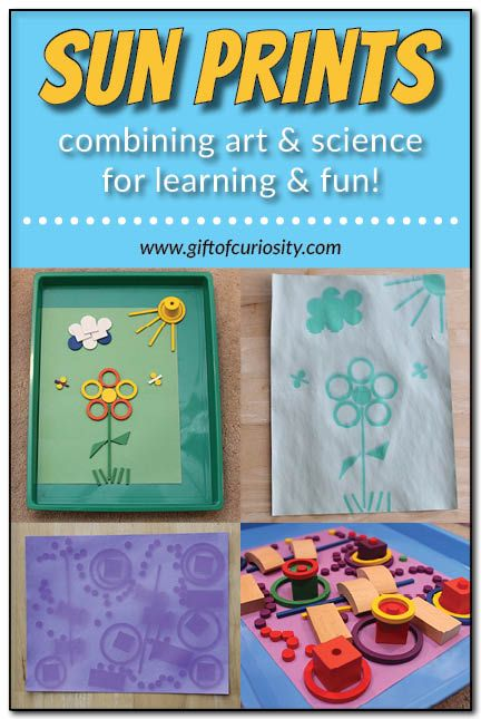 Sun prints: harness the power of the sun for an awesome art project that also teaches a science lesson. My kids were so excited to see how their sun prints changed after a few hours in the sun! #handsonlearning || Gift of Curiosity