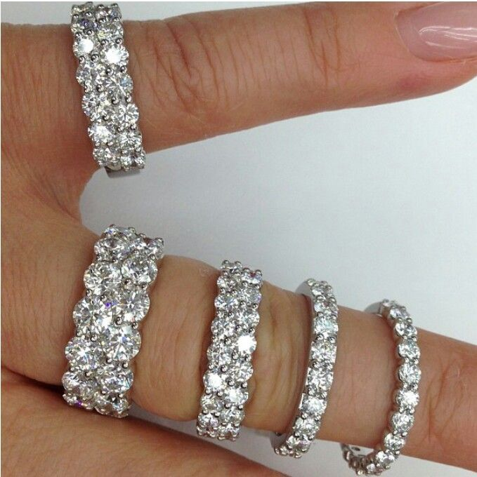 Beautiful different sizes diamond wedding bands ♥ #Capri #Jewelers #Arizona ~ www.caprijewelersaz.com  ♥