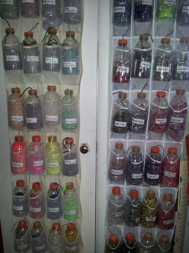 Idea of a way to store cord....plastic shoe rack/bag..& Gatorade bottles.